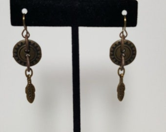 Native American Made Men's Button and Feather Earrings