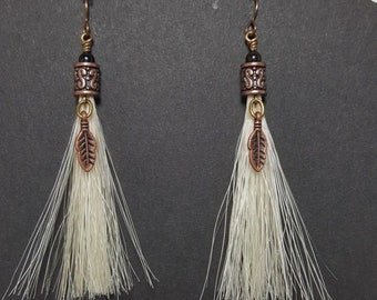Native American Made Men's White Horse Hair Earrings With Feathers