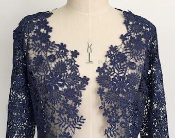 weddingoccasion jacket Blue guipure lace shrug