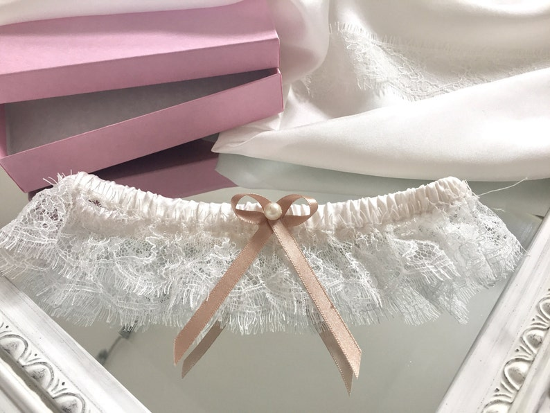 Alice Ivory silk bridal garterwedding garter with gold bow and vintage pearl