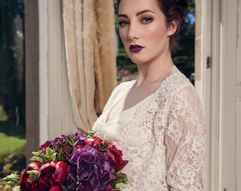 Corded lace bridal shrug/top