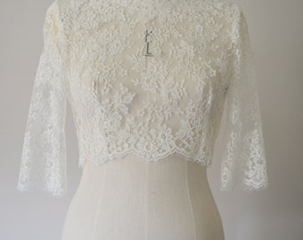 Ivory chantilly Lace bridal shrug