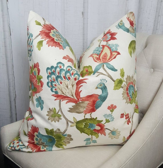 Designer Pillow Coral Accent Decorative Throw Pillows Euro Etsy Awesome Designer Decorative Throw Pillows
