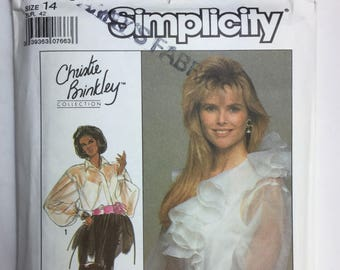 Vintage Simplicity 8903 Christie Brinkley Sheer Ruffled Shirt Blouse and Camisole Pattern, Size 14 Uncut