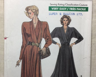 Vogue 7036, Vintage 80's Pattern, Misses' Wrap Dress, Shawl Collar, Shoulder Pads, Semi-fitted Bodice, Flared Skirt, Size 8-10-12, uncut