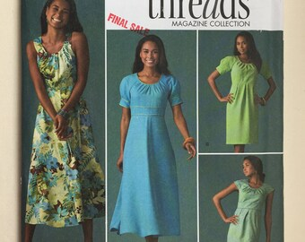 23a0f40f5e359 Simplicity 2926 Threads Misses' Dress with Skirt and Sleeve Variations  sizes Y5 18.20.22.24,26 uncut dated 2008