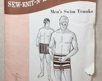 8232ef714cc6 Vintage Swim Trunks, Sew-Knit-N-Stretch 166, Men's Swim Trunks, Stretch  Swimsuit, Waist 36-38-40, Kersten Martensson, Uncut Pattern