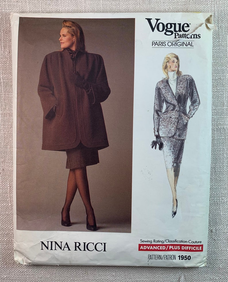 Size 14 Straight Skirt Loose-fitting Coat Nina Ricci Uncut Pattern Welt Pockets Vogue 1950 Semi-fitted Jacket Gussets Banded Coat