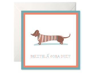 Breithlá Sona Duit (happy birthday to you) Sausage Dog Greetings Card as gaeilge