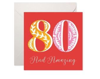 80 and Amazing Birthday Card