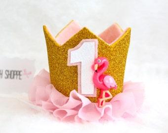 Pink Flamingo Gold Glitter MINI Birthday Cake Smash Princess Party Crown Headband w/ Pink Ruffle OR Flamingle Hair Clip Dog Cat Pet