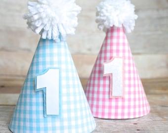 624d77d77b1492 Light Pink Light Blue Gingham Plaid MINI Birthday Party Hat Option of  Bowtie Hair Bow Clip OR Headband First Birthday Cake Smash Dog Cat