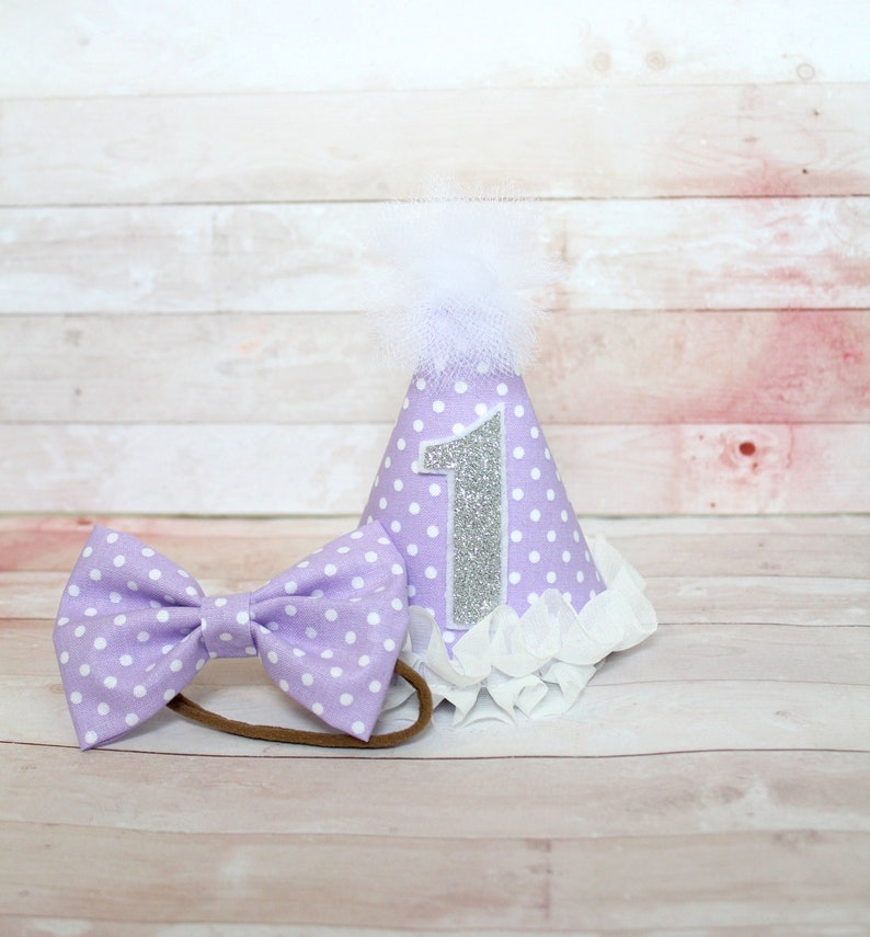 Baby Child Adult Dog Light Purple  Lavender /& White Polka Dot MINI Birthday Cake Smash Party Hat w Silver or Gold Glitter # OR Hair Bow