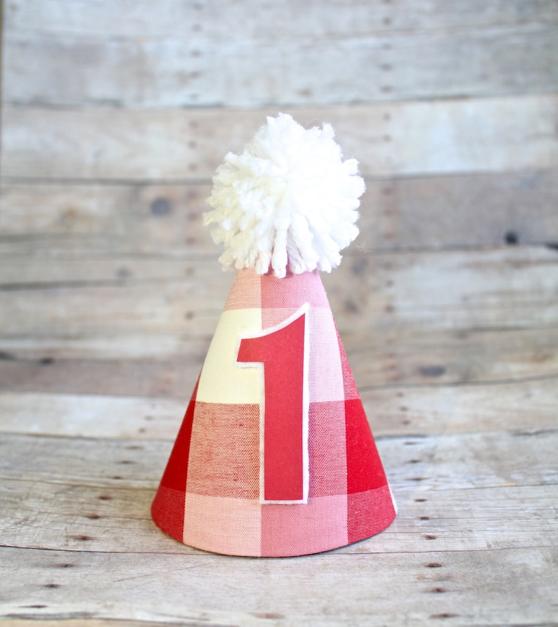 Country Fair Picnic Barnyard Farm Lumberjack Red or Blue Plaid Birthday Party Cake Smash MINI Party Hat Twins Option of Hair Bow or Bow Tie