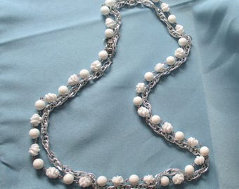 Sarah Coventry Double Strand Necklace, Silver and White Necklace, vintage acrylic beads silver chain Vintage Vogue designer Jewelry 70s
