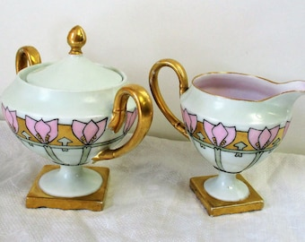 Art Deco Antique Hand Painted Germany Fine Porcelain Lidded Sugar and Creamer with Gold Gilding 1920s, Pink White Gold Porcelain