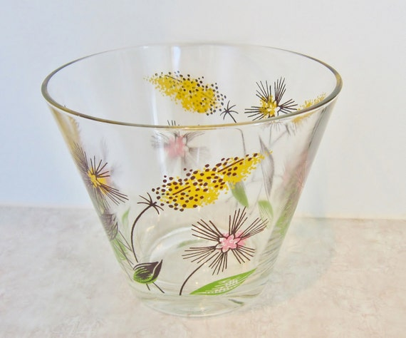 Vintage glass berry bowl trifle salad bowl floral glass etsy