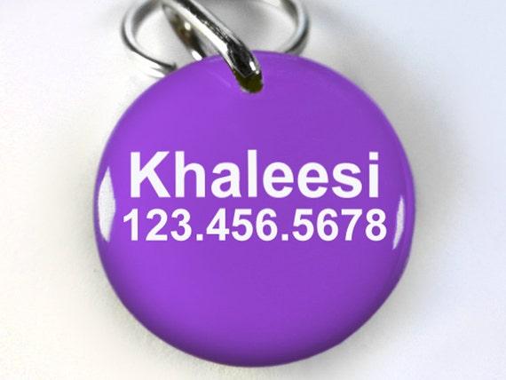 Khaleesi Pet ID tags Dog Tags chien Pet ID Tags violet le trône de Targaryen