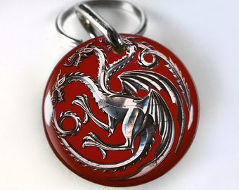 Game Thrones Targaryen Dragon Khaleesi pet id tag dog tag cat pet tag - 4 sizes available