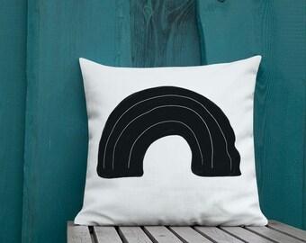 Minimal Abstract Rainbow Throw Pillow Black and White Decorative Pillow