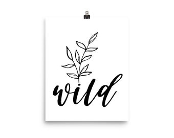 Wild Poster, Botanical Art Print, Boho Wall Art, Minimal Art