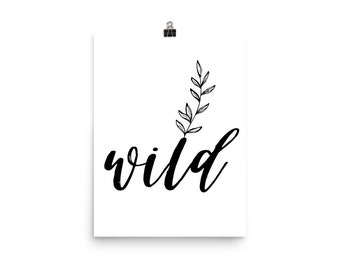 Wild Flower Poster, Boho Art Print, Wall Art