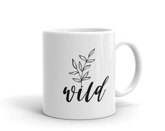 Wild and Free Mug, Boho Coffee Cup, Floral Tea Cup, Boho kitchen