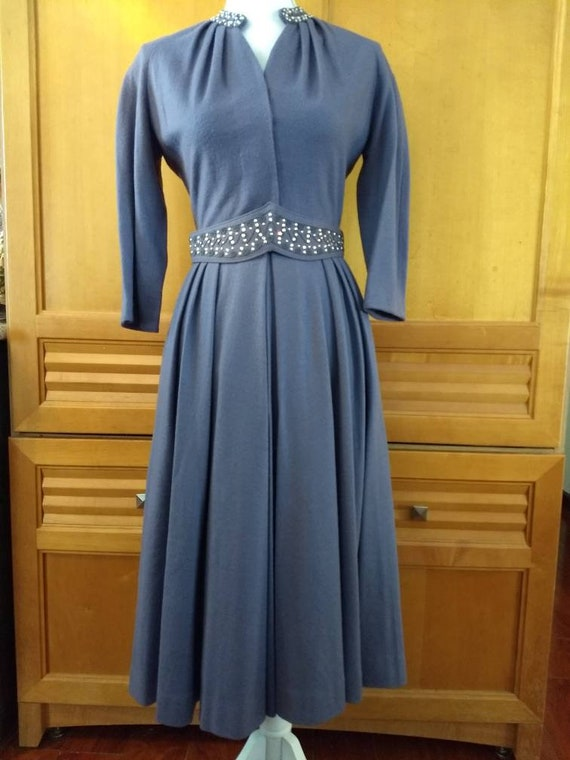 CARLYE. Exquisite Vintage Periwinkle Cocktail Dres