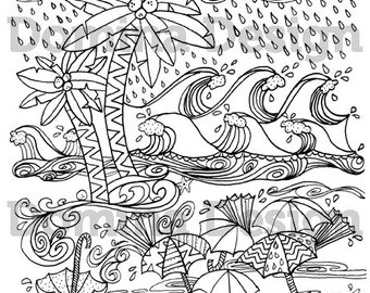 hurricane coloring pages Adult Coloring Page Rainy Garden digital download | Etsy hurricane coloring pages