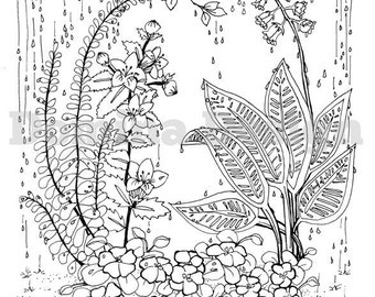 Adult Coloring Page - Rainy Garden - digital download