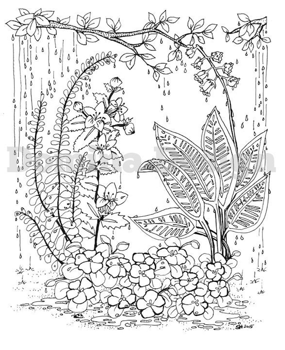 - Adult Coloring Page Rainy Garden Digital Download Etsy