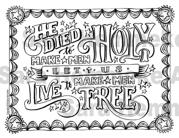 Coloring Page He Died To Make Men Holy Patriotic Hymn Usa