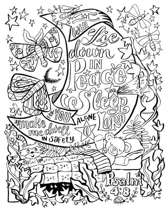 Coloring Page Bible Verse Lie Down In Peace Psalm 4 PDF Etsy