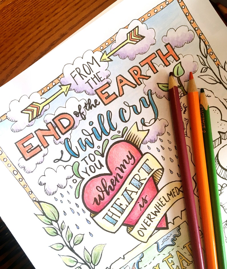 Coloring Page Bible Verse - printable download Psalm 61 for kids and adults