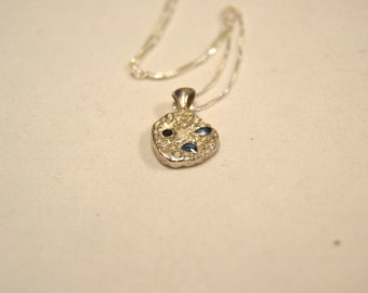 """PMC3 pure silver 9.999) pendant with synthetic stones on 20"""" sterling silver chain"""