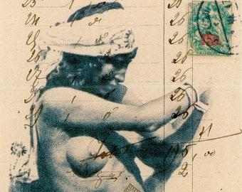 "Original mixed Media art, 'Naked Bond' approx 3.5"" X 8.25"""