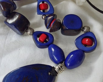 COBALT BLUE and Fiery RED Organic Tagua Nut Necklace, One of a Kind,  Eco Friendly, Sustainable,