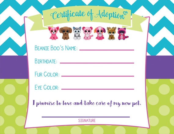 graphic relating to Beanie Baby Checklist Printable named Certification of Adoption - Beanie Boo Birthday Celebration, Undertake-a-Canine Occasion, Females birthday occasion, electronic history 8.5x11