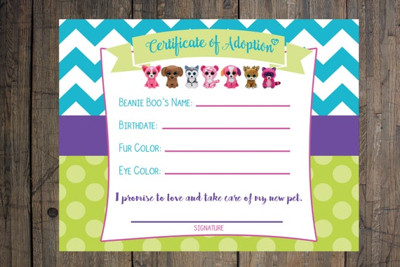 Certificate of adoption beanie boo birthday party etsy image 0 solutioingenieria Image collections