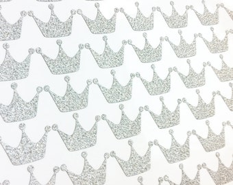 Crown Non Shed Glitter Stickers - Silver - GCWS0