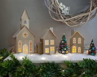 pop up christmas village with accessories putz village foldable paper village christmas houses set of 3 with trees lights snow