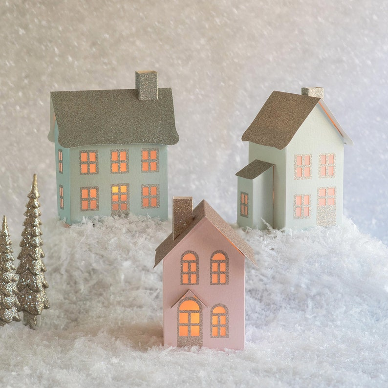 How To Store Christmas Village Houses.Pop Up Pastel Christmas Village Set Of 3 Vintage Pastel Christmas