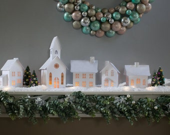 Christmas Village, Putz Village Pop-Up/Fold Flat Houses, Christmas Decor, White Christmas