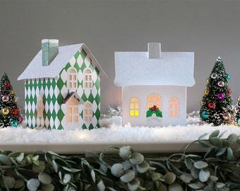 Putz Pop-up Village, Fold Flat Storage, Christmas Village, Harlequin Red and Green