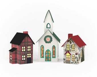 Tartan Christmas Village, Pop-Up Foldable Houses, Tartan Village