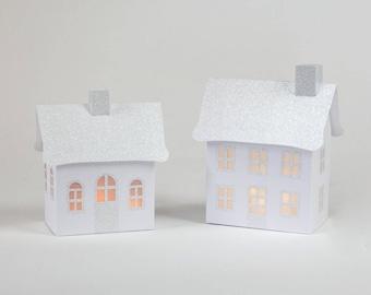 Holiday Village White, Pop-Up/Fold Flat & Illuminate, Putz Vintage Inspired Village, Paper Village, White Christmas Village