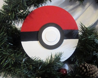 Pokeball Christmas Tree Topper -- wood painted white, red, and black; 6.5 inch circle