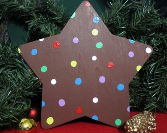 Candy Crush Saga Color Bomb Christmas Tree Topper -- wood painted; 8 inch star
