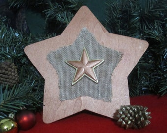 Rustic Christmas Tree Topper -- wood painted bronze and burlap; 8 inch star