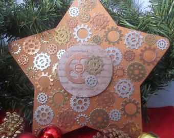 Steampunk Gears Christmas Tree Topper -- multi-colored metal gears over dark painted bronze wood; 8 inch star